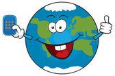 Tierra de dibujos animados con el teléfono celular — Vector de stock