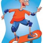Senior old lady skateboarding. — Stock Vector #18644027