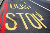 Bus Stop Road Marking in London — Stock Photo