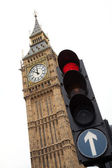 Big Ben with red traffic light London — Stock Photo