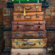 Old style suitcases ready for loading — Stock Photo