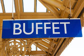 Antiguo ferrocarril antigua buffet signo — Foto de Stock