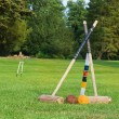 Croquet equipment propped up ready for use — Stock Photo #31035601