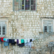 Washing-line outside a house in Dubrovnik — Stock Photo