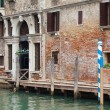 Venetian backstreet over the canal — Stock Photo