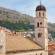 Dubrovnik Croatia clock tower and buildings — Stock Photo