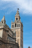 Detail of the Giralda Tower at Seville cathedral Spain — Stock Photo