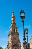 Clock tower Seville Spain Plaza de Espana — Zdjęcie stockowe