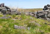 Broken dry stone wall on moorland — Stock fotografie