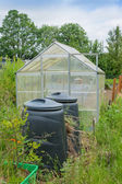 Allotment garden green house with compost bins — Stock Photo