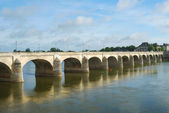 Bridge on Loire river at saumur — Stock Photo