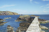 Harbour wall and cliffs at St. Abbs, Berwickshire — Stock Photo