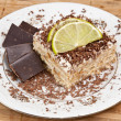 Coconut cake with chocolate - Stock Photo