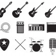 Stock Vector: Rock music instruments set