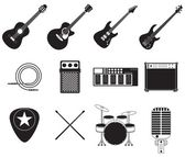 Rock music instruments set — Stock Vector