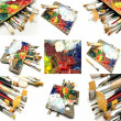 Stock Photo: Mural of brushes and oil paint palettes