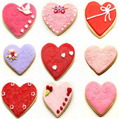 Mural of heart shaped cookies — Stock Photo