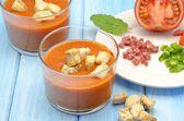 Cold gazpacho soup — Stock Photo