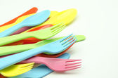 Several plastic cutlery — Stock Photo