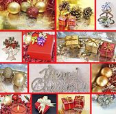 Collages with Christmas decorations — Stockfoto