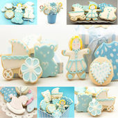 Collages of cookies decorated — Stock Photo