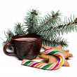 Cup of cocoa with ginger cookies and candy — Stock Photo
