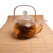 Glass teapot with green tea — Stock Photo