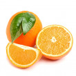 Fresh oranges with leaves - Photo
