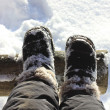 Stock Photo: Feet in boots in snow.