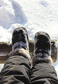 Feet in boots in the snow. — Stock Photo