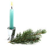 Candle with Christmas tree branch. — Stock Photo
