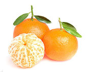 Tasty tangerines with leaves. — Stock Photo