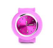 Pink wristwatch closeup. — Stock Photo