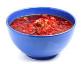 Borsch in a bowl isolated on white background. — Photo