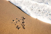 Christmas Tree On The Sand — Stock Photo