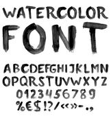 Handwritten black watercolor alphabet — Stock Vector
