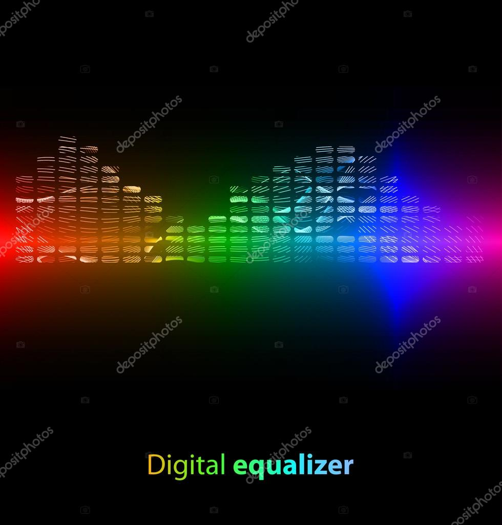 Colorful striped digital equalizer on black background. Vector illustration — Stock Vector #14766325