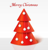 Red christmas tree with balls — Vector de stock