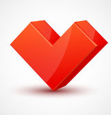 Red shiny 3d cubic heart — Stockvektor