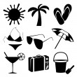 Stock Vector: Summer and beach icons on white background
