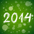 Stock Vector: White new year 2014 on green background