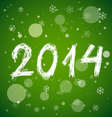 White new year 2014 on green background — Stock Vector
