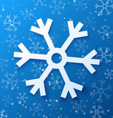Paper abstract snowflake on blue background — Stock vektor