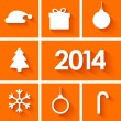 Stock Vector: Icons set of new year 2014 on orange background