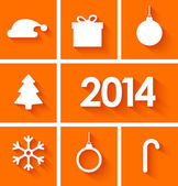 Icons set of new year 2014 on orange background — Stock Vector