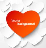 Rött papper heart banner med skuggor — Stockvektor