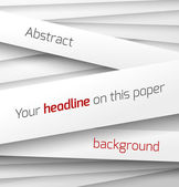 White paper rectangle banner on abstract 3d background with drop shadows — Stockvector