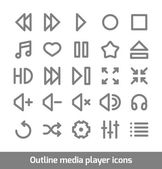 Outline media player icons set — Stock Vector