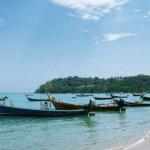 Blue sky, the fishing harbor. Thailand. Rawai Beach. — Stock Photo #21309899