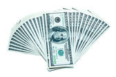 100 dollar bills fan stack — Stock Photo